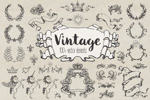 100+ Vintage Design Elements Set