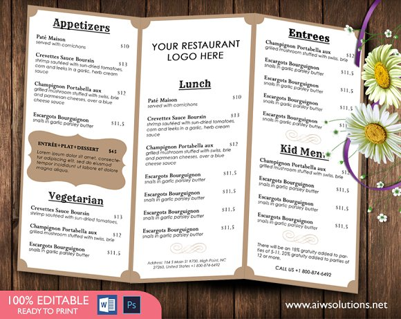Food menu template brochure templates creative market for Resturant menu templates