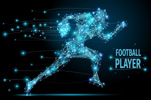 Running footballer polygonal
