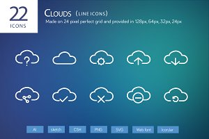 22 Clouds Line Icons