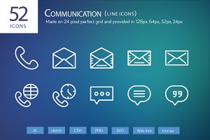 52 Communication Line Icons