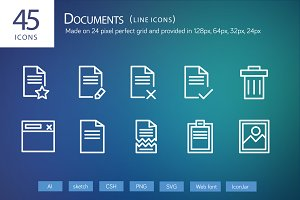 45 Documents Line Icons
