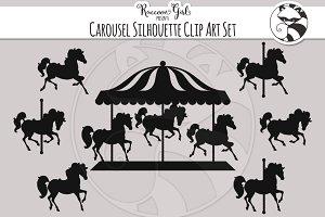 Carousel Silhouette Clip Art Set