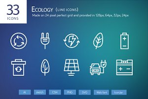 33 Ecology Line Icons