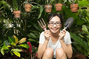 Woman gardening equipment