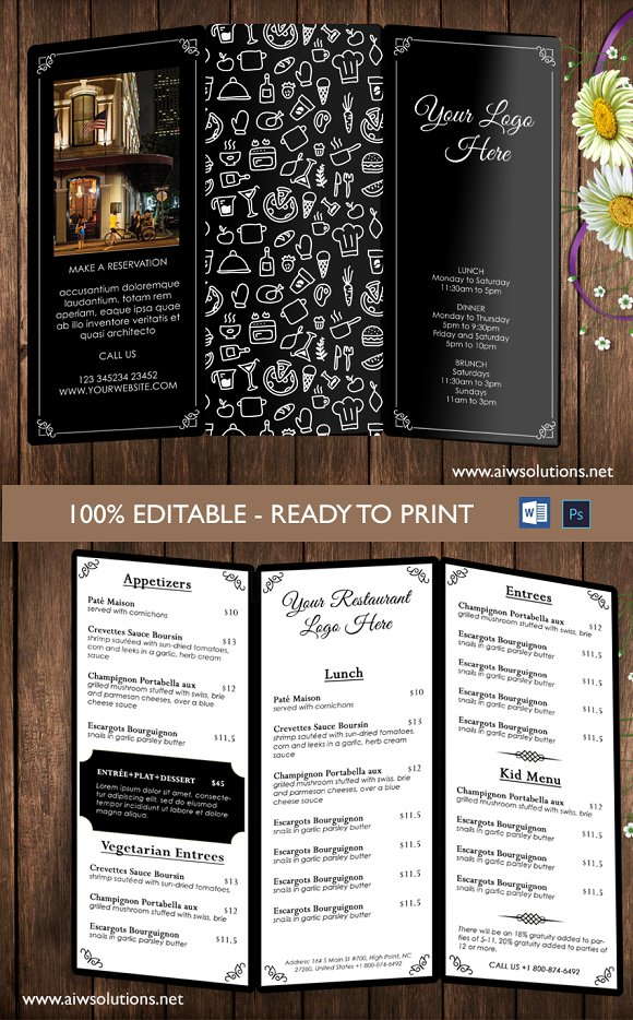 Restaurant menu template brochure templates on creative for Restaurant brochure template