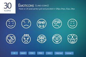 30 Emoticons Line Icons