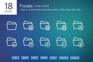 18 Folders Line Icons