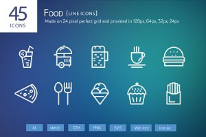 45 Food Line Icons