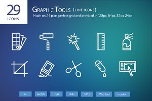 29 Graphic Design Line Icons