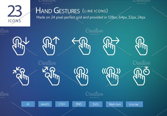 23 Hand Gestures Line Icons