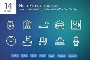 14 Hotel Facilities Line Icons