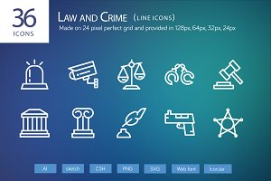 36 Law and Crime Line Icons