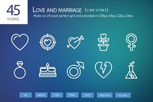 45 Love and Marriage Line Icons