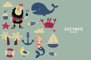 Cute pirates vector set