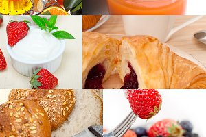 ealthy vegetarian breakfast collage