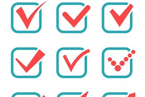 Tick check marks icons