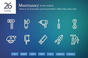 26 Maintenance Line Icons