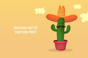 Mexican cactus cartoon print