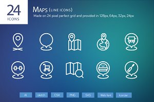 24 Maps Line Icons