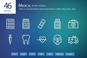 46 Medical Line Icons