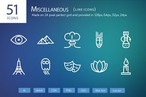 51 Miscellaneous Line Icons