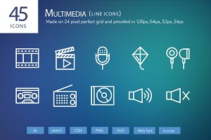 45 Multimedia Line Icons