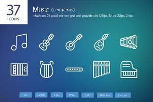 37 Music Line Icons