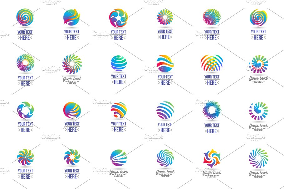 24 Circle logo set