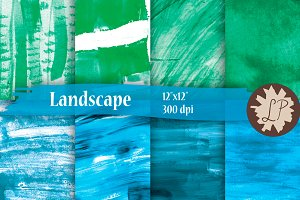 Abstract Landscape watercolour paper