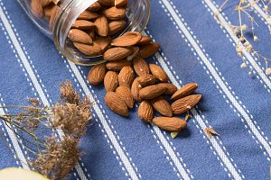 Almonds on table cloth