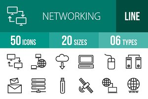 50 Networking Line Icons