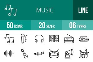 50 Music Line Icons