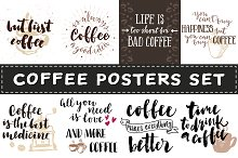 Lettering coffee posters set