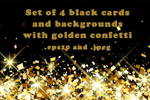 Black backgrounds with gold confetti