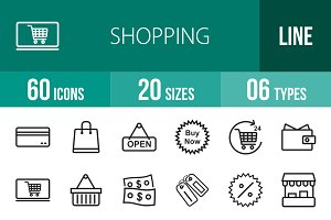 60 Shopping Line Icons