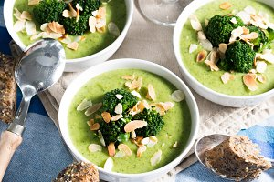 Lunch with broccoli soup