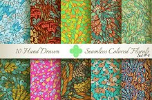 10 Colored Seamless Florals. Set #4