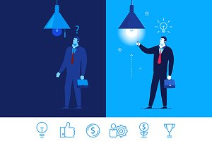 Vector business concept + 6 icons