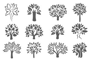 Tree logo illustration icon set