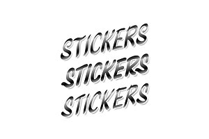 word sticker on white background