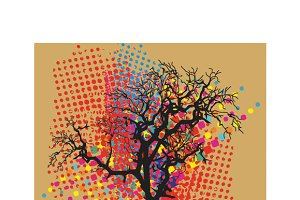 Colorful trees in a decorative style