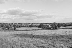 English countryside of Tanworth in Arden in black and white