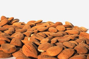 Almonds dried fruit with copy space