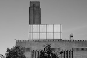 Tate Modern in London in black and white
