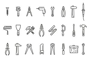 24 Line art icons tool set