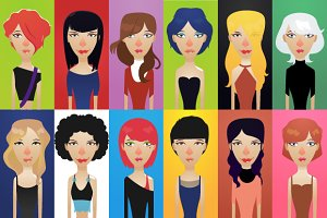 12 x Girls avatars