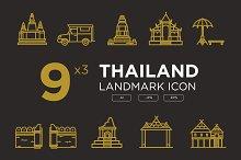 Thailand landmark icon set