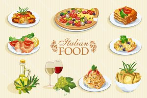 Set of Italian food icons. Cuisine