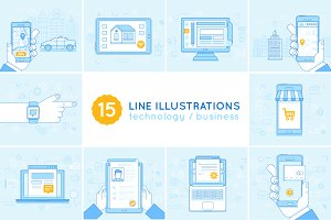 15 line illustrations